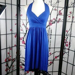 Banana Republic Hi-Lo Halter Dress Cobalt Blue